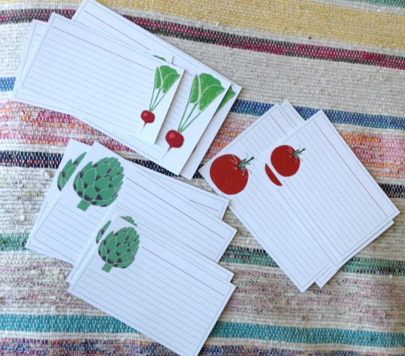 Vegetable Recipe cards